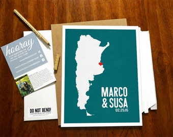 Argentina Personalized Wedding Gift - State Map Print - Bride & Groom Names Date - Bridal Shower Gift - Housewarming - Any State Available
