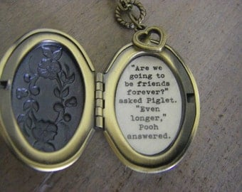 Friendship Locket, friend Necklace, Are we going to be friends forever, even longer, brass floral locket