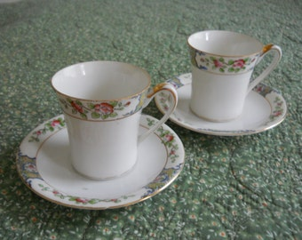 Nippon Cup and Saucer, Set of 2, Hand Painted Teacup