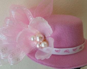It's A Girl! Mini Top Hat Fascinator