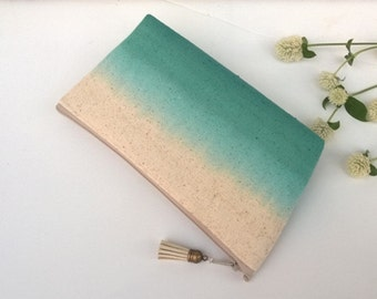 Teal Ombre Clutch Purse, Bohemian Clutch, Dip Dyed - 1 Bag