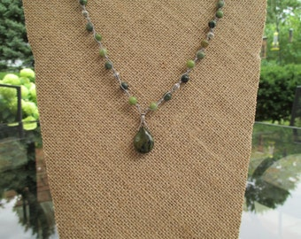 Knotted Jasper Necklace, Boho style, Pewter,Olive