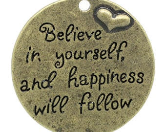 Believe in Yourself - Antique Bronze Pendants - Raised Heart - LARGE - 33mm - 2pcs - Ships IMMEDIATELY from California - BC782