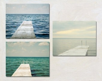 Lake House Print Set of Three, Coastal Photography Set, Blue Green Wall Art, Rustic Dock Photograph, 3 Picture Set Adirondack Nature Artwork