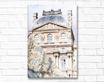 Paris Photography on Canvas - The Louvre Reflections, Gallery Wrapped Canvas, Architectural Urban Home Decor, Large Wall Art