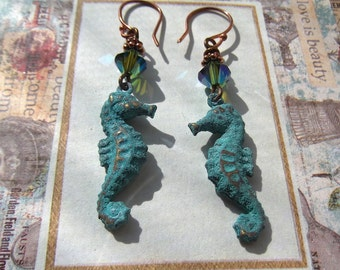 Verdigris Seahorse & Swarovski Bicone Earrings with Copper Wires