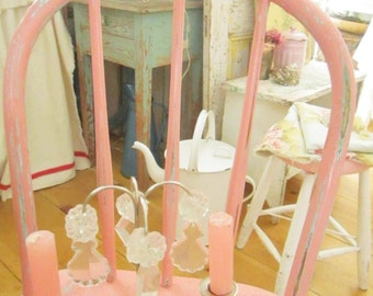 Shabby Pink  chair vintage chippy original pink and green patina  shabby chic prairie farmhouse cottage in pink