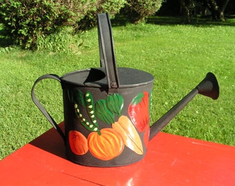 FOLK ART Watering Can  -  Hand Painted with Sprinkle Nozzle