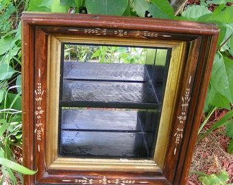 70s Shadowbox Style Bilevel Mirrored Shelf Three Tiered Frame Carved Shafts of Wheat