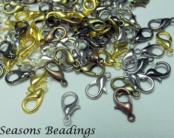 100 Assorted 12mm Lobster Clasps - FREE SHIPPING to Canada