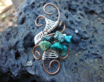 Turquoise Copper Silver Wire Wrapped Ring Size 6 7 8 1/2 Handmade Custom Healing Jewelry