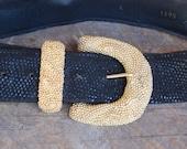 vintage CARLISLE BLACK wide belt GOLD textured buckle size L