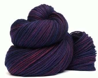 Hand Dyed Worsted Weight Yarn, 327 yards, 100% Superwash Merino, Jeweled Violet