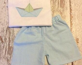 paper sailboat and shorts set, boys sailboat outfit, boys paper sailboat outfit, paper sailboat shirt, sailboat shirt, baby sailboat shirt