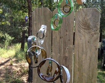 green, brown, yellow, GLASS WINDCHIMES-RECYCLED bottles, wind chime, garden decor, wind chimes,  musical, home decor, mobile