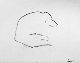 Doggie doodle #1. Blind contour charcoal drawings of my dogs.