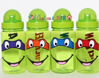 15oz Super Hero Turtle Personalized Sports Water Bottle - For Kids - Party Favors, Gifts - Fun Colors Summer