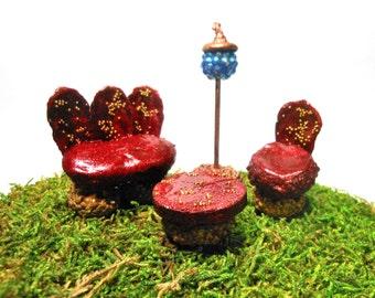 Fairy Garden Couch/Chair/Coffee Table/Table Lamp-Deep Sparkling Red-OOAK-Fairy Furniture/Terrarium/Garden Accessory