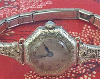 Clearance Rare Art Deco BULOVA White Gold 18k gf 15 Jewels Ladies Watch with FILIGREE band SERVICED Shop for Birthdays Wedding Anniversary