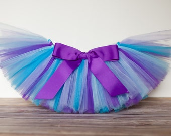 "Purple & blue tutu ""Audrey"" kids tutu sizes 2 3 4 photo prop girls birthday tutu 2T 3T 4T toddler tutu skirt mermaid purple teal birthday"