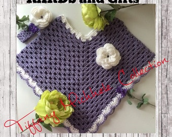 Girls Purple Party Poncho with Matching Headband Crochet