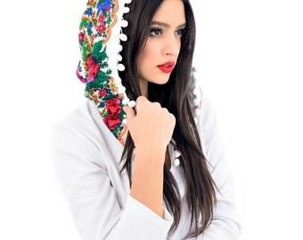 Hooded Dress , Midi Flower White Dress , Bohemian hooded Dress , Urban Dress , Folk Dress , Custom made dress