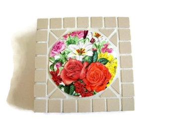 Mosaic Jewelry Trinket Box - Royal Worcester China Focal