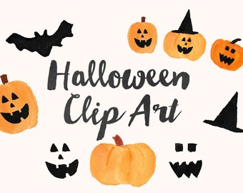 Halloween Hand Painted Watercolor Clip Art - Personal Commercial Use fall pumpkin jack-o-lantern witch bat clipart party invitation black