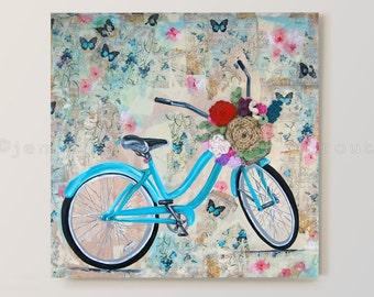 "Vintage, Teal Schwinn Bicycle, ""Butterfly Bike Ride"" 24"" x 24"" CROCHET + PAINTING on CANVAS, Flowers in Basket, Butterflies in the Air"