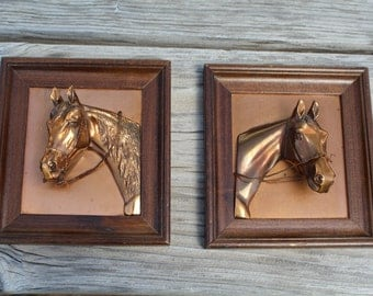 Vintage Equestrian Copper Horse Head Wall Hanging Home Decor