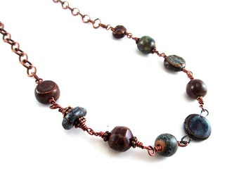 Beaded Ceramic Necklace - Earth Tones Boho Necklace - Organic Necklace - Antiqued Copper Necklace - Bohemian Necklace - SRAJD 3955