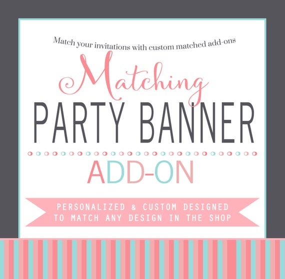 Party banner decoration matching baby shower, birthday, bridal shower photo prop printable