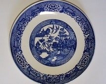 "BLUE WILLOW PLATE - Unmarked Vintage Plate - 9 7/8"" (25.2 cm)"