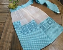 Super Nifty Vintage 1950s Half Apron Blue Gingham and Sheer with Pocket