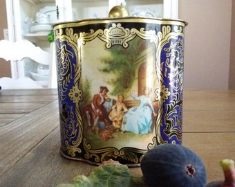 Beautiful Vintage gold black and Blue Tea Biscuit Tin made in West Germany