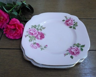 Set of Two Windsor Bone China Shabby Pink Rose Square Dessert Plates Made in England