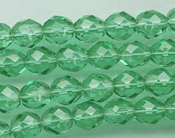 One 16-inch strand (about 50 beads) 8 mm emerald firepolished beads - 173