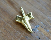 1 - Shark Tooth Pendant 24K Gold Plated Pendant Shark Pendant Fish Pendant Charm Jewelry Supplies (BD073)