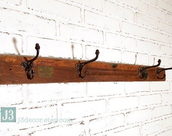 Repurposed Coat Rack, Four Black Vintage Metal Hat Hooks, Vintage Builders Level, Upcycled Hall Tree, Wall Hanger, Home Organizer Space Save