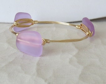 "Lavender Sea Glass Bangle Bracelet ""Bourbon and Bowties"" Inspired"