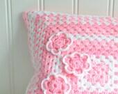 "Pink and white granny square cushion cover , girls home decor, handmade Swedish , 14 x 14 """