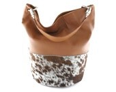 Elizabeth Calf Hair & Leather Bucket Bag | Shoulder Bag | Calf Hair | Hair On | Cowhide Leather | Cognac | Camel | Salt + Pepper