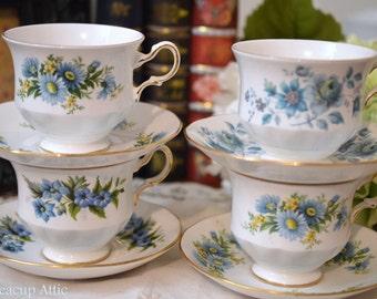 ON SALE Queen Anne Blue Floral Tea Party, 4 Matching Tea Cup Sets, Bulk Teacup, Bridal Tea Party, ca. 1959-1966