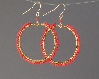 Small Gold Coral Beaded Wrapped Hoop Earrings