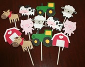 Farm/Barnyard set of 12 Cupcake Toppers.
