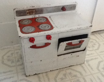 Toy Stove Empire Red Metal 1950