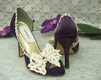 Wedding Eggplant Shoes Battenburg lace bow and crystals, Purple & Ivory, Satin High Heels, Open Toe Pumps, Vintage Lace, Romantic