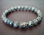 Women's Black Moonstone Mala Bracelet - Blue Fire Labradorite & Buddha or Skull Mala Bracelet - Yoga, Buddhist, Meditation, Jewelry