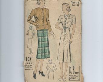 Vintage 1930s Women's Misses' Dress and Jacket Pattern Du Barry 1891B