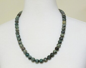 """Natural Blue African Turquoise  24"""" Long Beaded Necklace"""